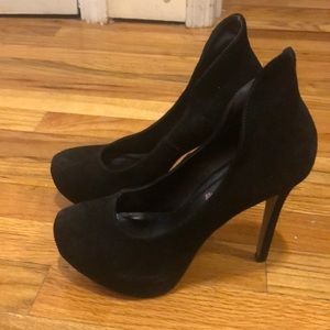 Black suede high heel platform shoes
